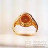 Золотое кольцо с натуральным кораллом и бриллиантами, фото №5