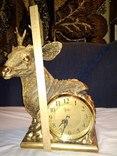 Часы каминные олень кварц, фото №4