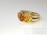 Винтажное золотое кольцо с цитринами, фото №3
