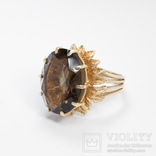 Золотое кольцо с натуральным дымчатым кварцем, фото №2