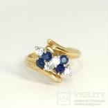Винтажное золотое кольцо с натуральными сапфирами и бриллиантами, фото №2