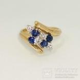 Винтажное золотое кольцо с натуральными сапфирами и бриллиантами, фото №4