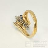 Винтажное золотое кольцо с натуральными сапфирами и бриллиантами, фото №5