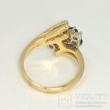 Винтажное золотое кольцо с натуральными сапфирами и бриллиантами, фото №6