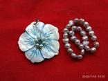 Кулон цветок перламутр, браслет жемчуг, фото №2