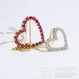 """Золотая подвеска """"Два сердца"""" с натуральными рубинами и бриллиантами, фото №4"""