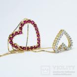 """Золотая подвеска """"Два сердца"""" с натуральными рубинами и бриллиантами, фото №6"""