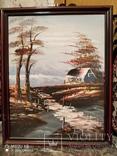 Картина в раме, пейзаж,картон,масло, фото №6