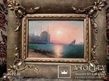 Старинная картина в раме морской пейзаж, фото №3