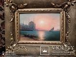 Старинная картина в раме морской пейзаж, фото №5
