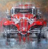 Картина «Красное авто» Художник Ellen ORRO холст/картон/акрил. 40х40 2020 г.