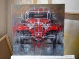Картина «Красное авто» Художник Ellen ORRO холст/картон/акрил. 40х40 2020 г. фото 2