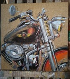 Картина «Harley-Davidson». Художник Ellen ORRO. джут/акрил. 50х50, 2019 г. фото 3