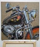 Картина «Harley-Davidson». Художник Ellen ORRO. джут/акрил. 50х50, 2019 г. фото 4