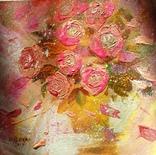 «Розовые розы» двп/акрил  25х25  2019 г.