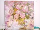 «Розовые розы» двп/акрил  25х25  2019 г. фото 2