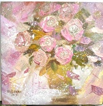 «Розовые розы» двп/акрил  25х25  2019 г. фото 3