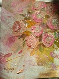 «Розовые розы» двп/акрил  25х25  2019 г. фото 5