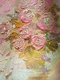 «Розовые розы» двп/акрил  25х25  2019 г. фото 6