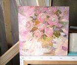 «Розовые розы» двп/акрил  25х25  2019 г. фото 8