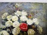 «Красная роза» холст на картоне/масло 15х15 2018 г. фото 4