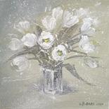 «Белые тюльпаны» двп/акрил 25х25 2020 г.