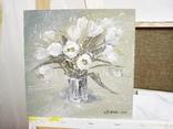 «Белые тюльпаны» двп/акрил 25х25 2020 г. фото 3