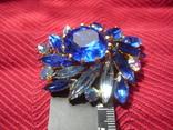 Брошь . Синие и белые камни., фото №4