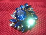 Брошь . Синие и белые камни., фото №5