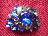 Брошь . Синие и белые камни., фото №8