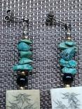Серьги кость бирюза серебро, фото №4