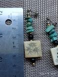 Серьги кость бирюза серебро, фото №6