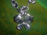 Колье из хрустального стекла и металла в виде бабочки, фото №3