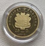 Андорра 2010 год 25 динар 6 грамм 9999' золото, фото №3