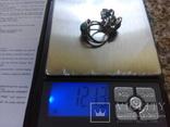 Серебро гарнитур кольцо серьги с зеленой бирюзой, фото №2