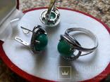 Серебро гарнитур кольцо серьги с зеленой бирюзой, фото №7