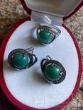 Серебро гарнитур кольцо серьги с зеленой бирюзой, фото №3