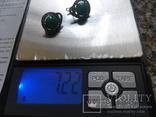 Серебро гарнитур кольцо серьги с зеленой бирюзой, фото №11