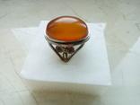 Старовинний перстень р.18 з королівським бурштином. Скань., фото №3