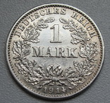 1 марка 1914 г. (G), Германия, серебро, фото №2