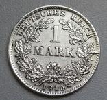 1 марка 1915 г. (D), Германия, серебро, фото №2