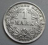 1 марка 1915 г. (D), Германия, серебро, фото №3