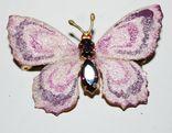 Брошь времен СССР, бабочка, вставка аметист, золочение - 3х5 см., фото №3