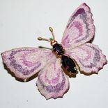 Брошь времен СССР, бабочка, вставка аметист, золочение - 3х5 см., фото №4