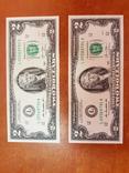2 доллара США банкноты 2013 сразу две в лоте фото 1