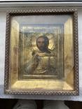 Икона Вседержитель в бронзовом окладе, серебрение, золочение, фото №2