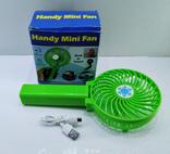 Вентилятор ручной аккумуляторный мини с ручкой USB диаметр 10см Handy Mini Fan, фото №2