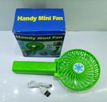 Вентилятор ручной аккумуляторный мини с ручкой USB диаметр 10см Handy Mini Fan, фото №3