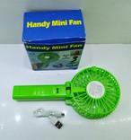 Вентилятор ручной аккумуляторный мини с ручкой USB диаметр 10см Handy Mini Fan, фото №4