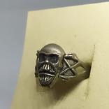 Кольцо с черепом. байкер, фото №5